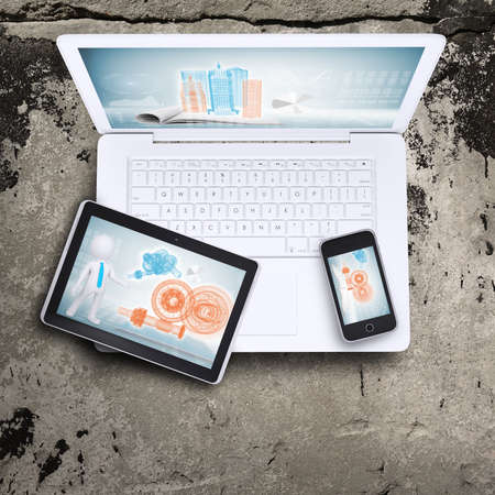 Laptop, tablet pc and smartphone photo