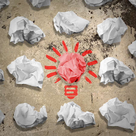 innovate: Bulb made of paper and crumpled wads Stock Photo