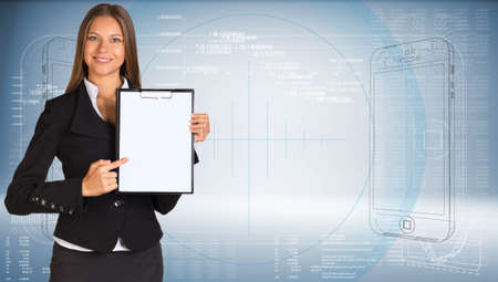 Businesswoman holding paper holder photo