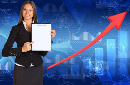Businesswoman holding paper holder photo