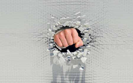 れんが造りの壁を通ってパンチ拳