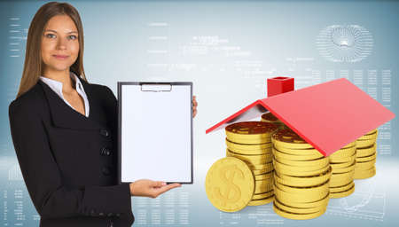 cash in hand: Businesswoman hold paper holder Stock Photo
