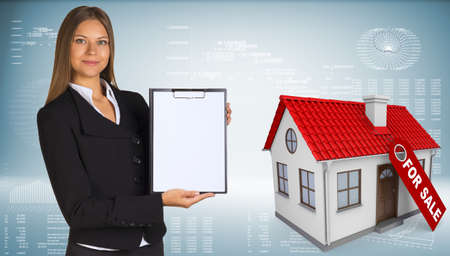 checklist icon: Businesswoman and small house with label for the sale Stock Photo