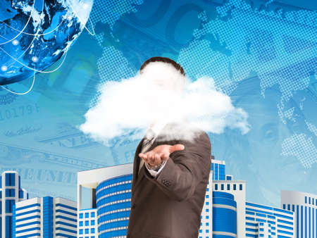 Businessman in a suit hold cloud photo