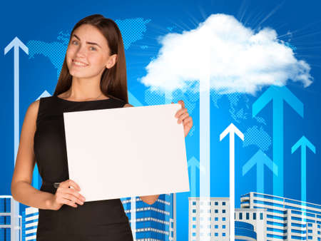 Businesswoman with cloud, skyscrapers and arrows photo