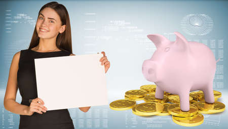 golden hair: Businesswoman hold white paper  Piggy bank with gold coins Stock Photo