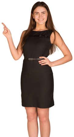beiseite: Gesch�ftsfrau, die ihren Finger zur Seite Lizenzfreie Bilder