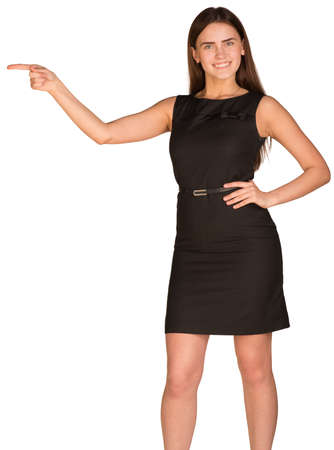 aside: Businesswoman pointing her finger aside Stock Photo