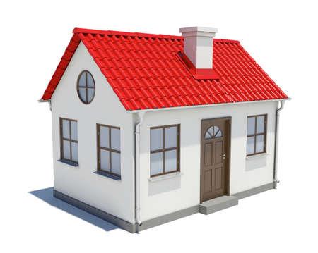 Klein huis met rode dak