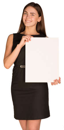 cardboard only: Attractive young woman holding blank paperboard