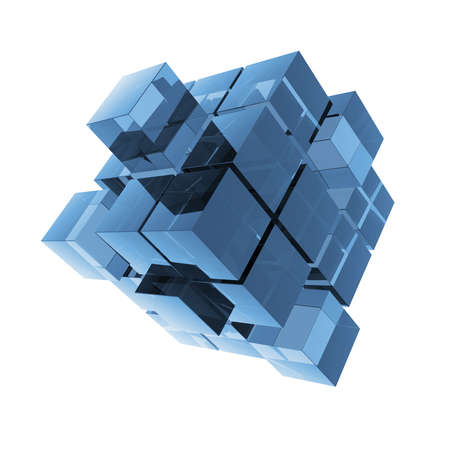 Cubes blue glass abstraction