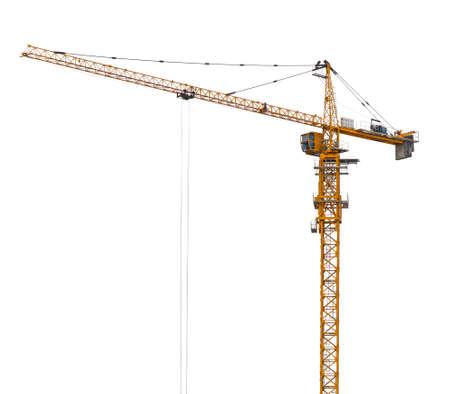 Yellow hoisting crane isolate photo