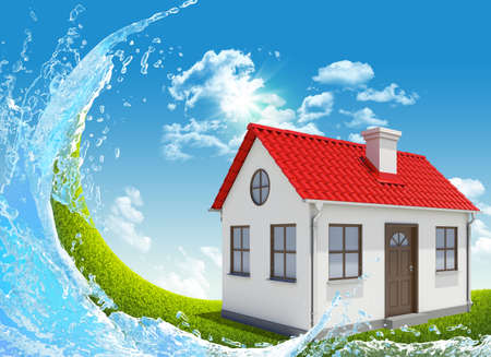 House, green meadow and water splash photo