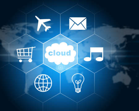 service sphere support web: Cloud with icons. Technology concept