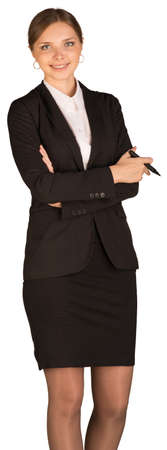 pencil skirt: Beautiful girl in business suit holding pen  Stock Photo