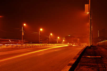 Night view of road in city photo