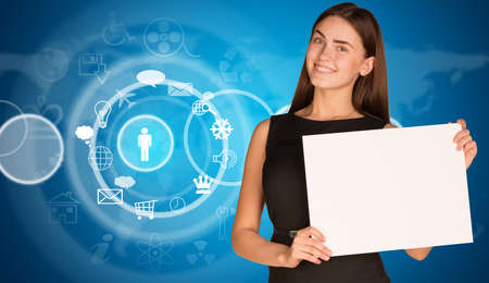service sphere support web: Businesswoman with cloud icons and world map Stock Photo