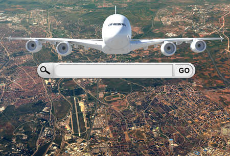 Search bar in browser and airplane  photo