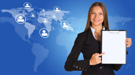 Businesswoman with world map, network and people icons photo