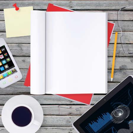 Lie on wooden floor smartphone, tablet and open book photo