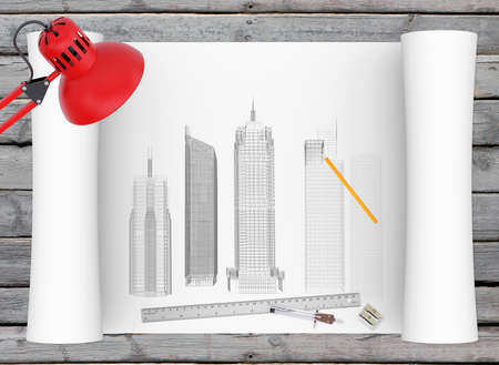 architectural drawing: Architectural drawing and office supplies on the background of wooden boards Stock Photo