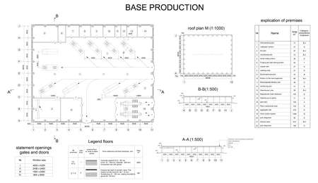 architectural drawing: Detailed architectural drawing of the building motor company