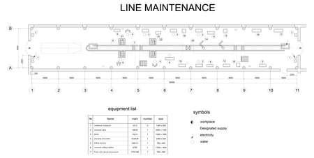 onderhoud auto: Gedetailleerde tekening van het gebouw voor auto-onderhoud