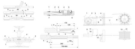 engineering drawing: Engineering drawing of industrial equipment Illustration