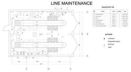 onderhoud auto: Detailed drawing of the building for car maintenance