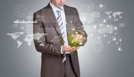 Businessman hold empty copy space. Network, rectangles and world map photo