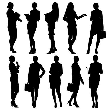 standing: Business woman silhouettes
