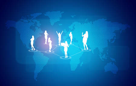 businesswoman skirt: World map with business people silhouettes