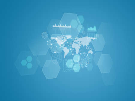 World map, transparent hexagons, graphs and network photo
