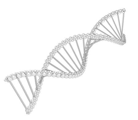 high scale: Illustration of wire-frame DNA chain Stock Photo