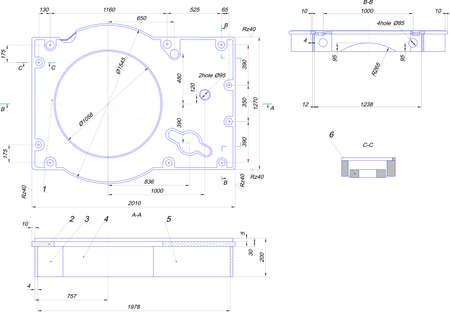 diameter: Disegno tecnico di attrezzature industriali Vettoriali