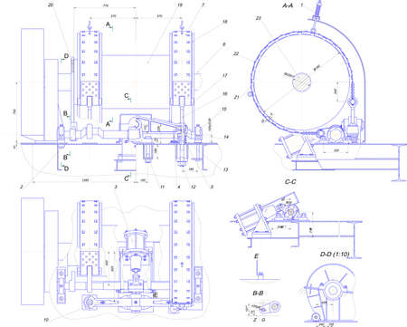 diameter: Engineering drawing of industrial equipment Illustration