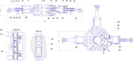 diameter: Disegno di ingegneria di attrezzature industriali