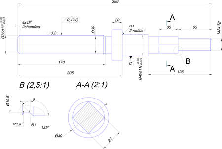 diameter: Disegno tecnico di albero in acciaio
