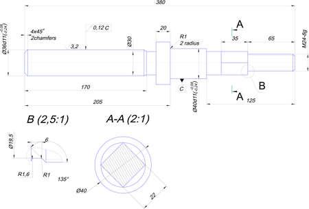 Engineering drawing of steel shaft