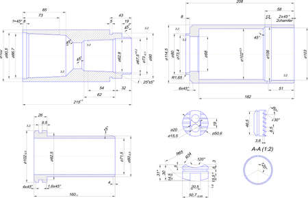 engineering drawing: Engineering drawing of steel bush