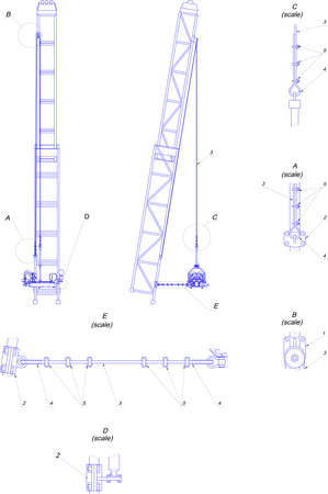 engineering drawing: Engineering drawing. Telescopic tower Illustration