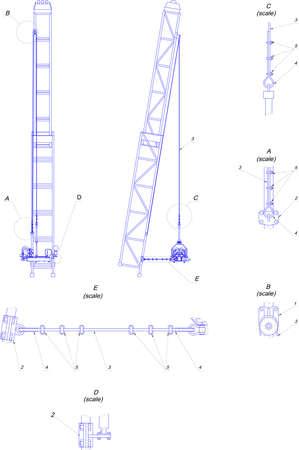 telescopic: Engineering drawing. Telescopic tower Illustration