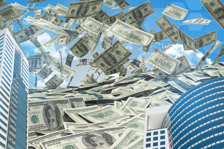 money sphere: Buildings and Earth. Dollars falling from the sky. Business concept Stock Photo