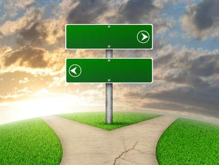 Crossroads verkeersbord. Groen gras, vork in de weg en de hemel als achtergrond