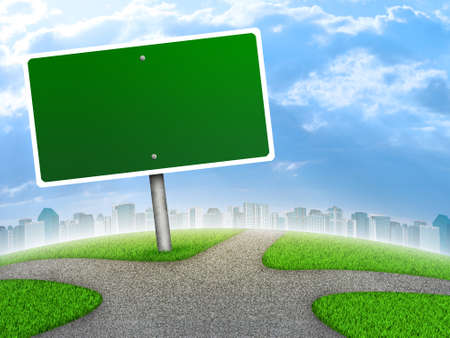 Crossroads road sign. City, green grass, fork in the way and sky as backdrop