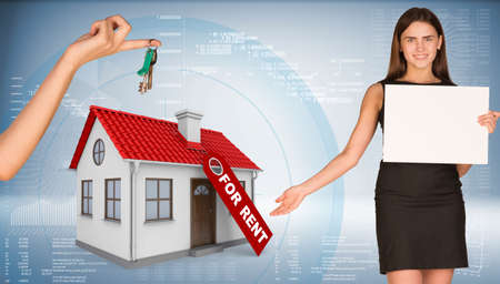 Businesswoman holding empty paper and showing house. Hand giving house key. Business concept photo