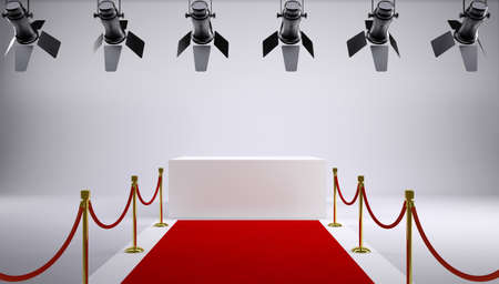 red wall: Red carpet at the studio. On the ceiling are hanging lights Stock Photo