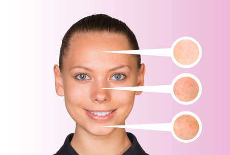 zoomed in: Portrait of beautiful young woman. Callouts with zoom portions of face, neck and forehead