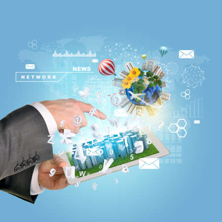 using tablet: Man hands using tablet pc. Business city on touch screen. Earth with buildings near tablet.   Stock Photo