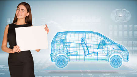 Businesswoman hold paper sheet. Wire-frame family car on transparent plane. Graphs as backdrop photo